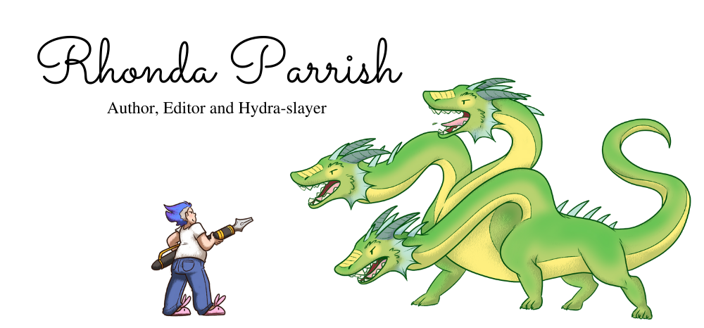 Cartoon version of Rhonda Parrish fighting a three-headed Hydra with an oversized fountain pen